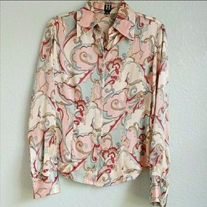 HILFIGER | Silk Paisley Button Down Shirt Sz. 4